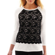 nicole by Nicole Miller® Long-Sleeve Lace-Front Sweater