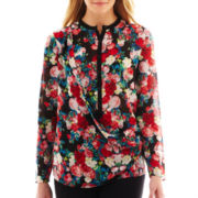 nicole by Nicole Miller® Long-Sleeve Crossover Print Blouse