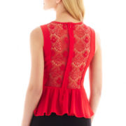 nicole by Nicole Miller® Sleeveless Lace-Back Peplum Blouse