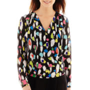 Liz Claiborne® Long-Sleeve Twist-Front Print Blouse - Tall