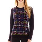 Liz Claiborne® Long-Sleeve Plaid Print Sweater