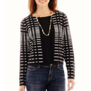 Liz Claiborne® Long-Sleeve Graphic Cardigan Sweater