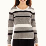 Liz Claiborne® Long-Sleeve Striped Tunic Sweater