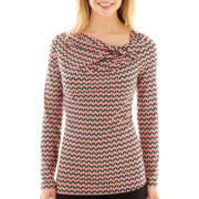 Liz Claiborne® Long-Sleeve 1-Sided Twist-Neck Top - Tall