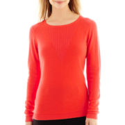 Liz Claiborne® Long-Sleeve Plaited Crewneck Sweater