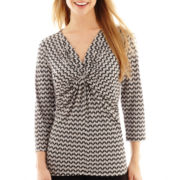 Liz Claiborne® 3/4-Sleeve Twist-Front Top