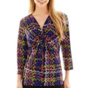 Liz Claiborne® 3/4-Sleeve Twist-Front Print Blouse - Tall