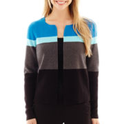 Liz Claiborne® Long-Sleeve Colorblock Cardigan Sweater