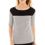 Liz Claiborne® Elbow-Sleeve Colorblock Textured Knit Top