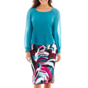 Bisou Bisou® Print Cropped Blouse or Piped Print Pencil Skirt