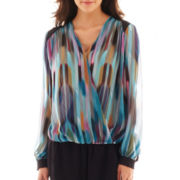 Bisou Bisou® Long-Sleeve Colorblock Crossover Blouse