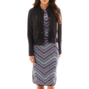 Bisou Bisou® Faux-Leather Bomber Jacket, Crop Top or Piped Print Pencil Skirt