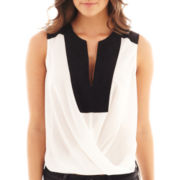 Bisou Bisou® Sleeveless Lace-Trim Colorblock Crossover Top