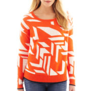jcp™ Long-Sleeve Jacquard Crewneck Sweater