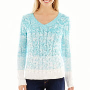 Liz Claiborne® Long-Sleeve Ombré Cable Sweater