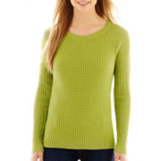 Liz Claiborne® Long-Sleeve Ribbed Crewneck Sweater
