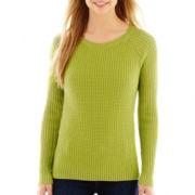 Liz Claiborne® Long-Sleeve Ribbed Crewneck Sweater