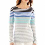 Liz Claiborne® Long-Sleeve Striped Boatneck Tee