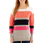 Liz Claiborne® Long-Sleeve Striped Tunic Sweater