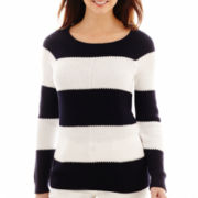 Liz Claiborne® Long-Sleeve Striped Rugby Sweater