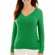 Liz Claiborne® Long-Sleeve Open-Stitch Sweater