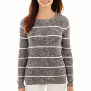 Liz Claiborne® Long-Sleeve Ribbed High-Low Sweater