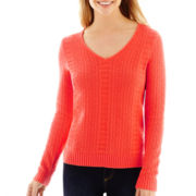 Liz Claiborne® Long-Sleeve Textured Sweater - Tall