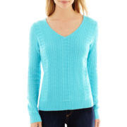 Liz Claiborne® Long-Sleeve Textured Sweater