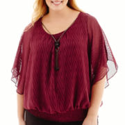 Alyx® Flutter-Sleeve Smocked Top with Necklace - Plus