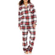 Liz Claiborne® Flannel Long-Sleeve Pajama Set - Plus