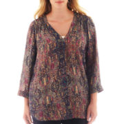 a.n.a® 3/4-Sleeve Shirred Shoulder Tunic - Plus