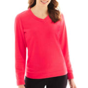 Made For Life™ Long-Sleeve Brushed Fleece V-Neck Pullover