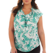 Worthington® Sleeveless Draped Blouse - Plus