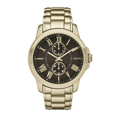 jcpenney.com | Geneva Mens Black Dial Gold-Tone Bracelet Watch