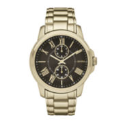 Geneva Mens Black Dial Gold-Tone Bracelet Watch