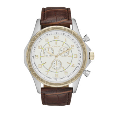 jcpenney.com | Geneva Mens Champagne Dial Brown Strap Watch