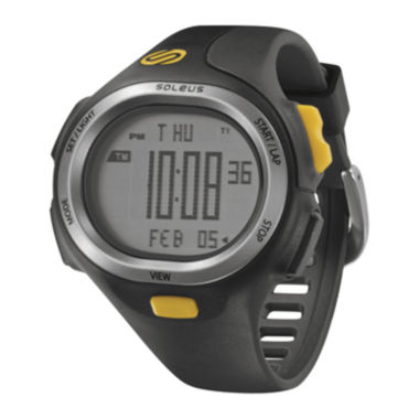 jcpenney.com | Soleus PR Mens Black and Yellow Strap Running Digital Sport Watch