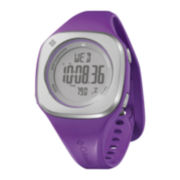 Columbia® Womens Silver Dial Purple Silicone Strap Digital Watch