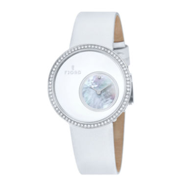 jcpenney.com | Fjord Womens White Stainless Steel Helga Strap Watch