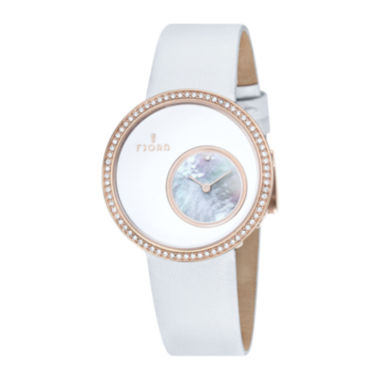 jcpenney.com | Fjord Womens White Rose Helga Strap Watch