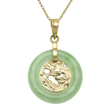 jcpenney.com | Green Jade 14K Yellow Gold Pendant Necklace