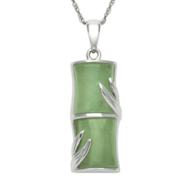 jcpenney.com | Green Jade Sterling Silver Bamboo Pendant Necklace