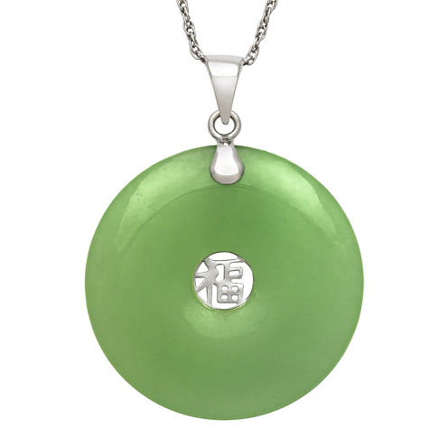 Dyed Green Jade Sterling Silver Pendant Necklace