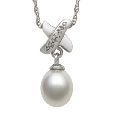 jcpenney.com | Sterling Silver Cultured Freshwater Pearl and Diamond-Accent Pendant Necklace