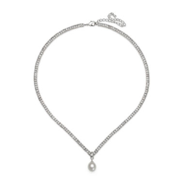 jcpenney.com | Silver Over Brass Cultured Freshwater Pearl and Cubic Zirconia Bridal Pendant Necklace