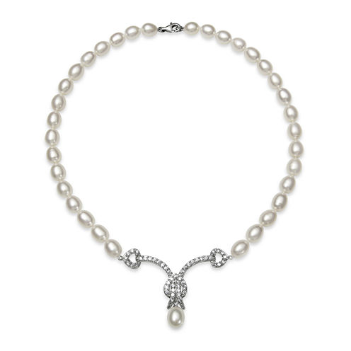 Cultured Freshwater Pearl and Cubic Zirconia Bridal Necklace