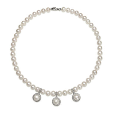 jcpenney.com | Cultured Freshwater Pearl and Cubic Zirconia Enhancer Necklace