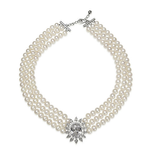 Cultured Freshwater Pearl and Cubic Zirconia 3-Row Necklace