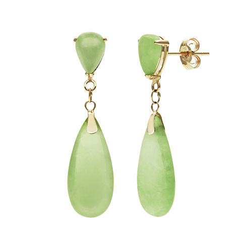 14K Yellow Gold Green Jade Earrings