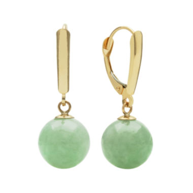 jcpenney.com | Green Jade 14K Yellow Gold Earrings
